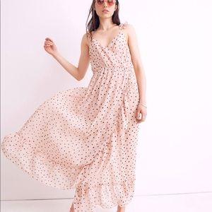 NWT Madewell Ruffle Wrap Dress in Inkspot Dots